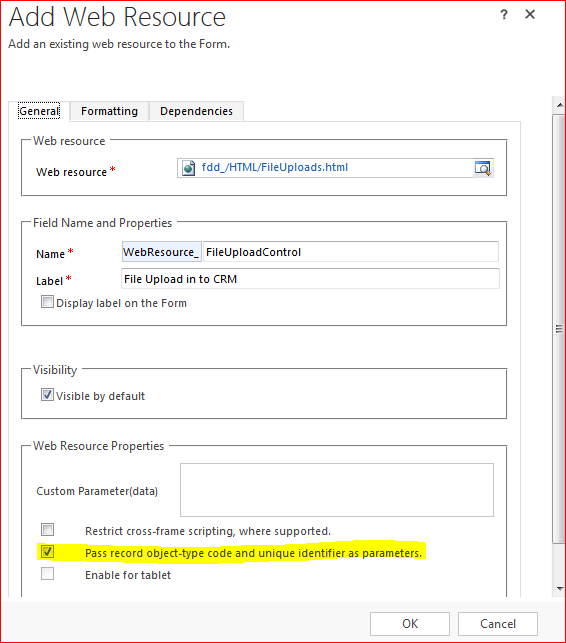 Add web resource in CRM