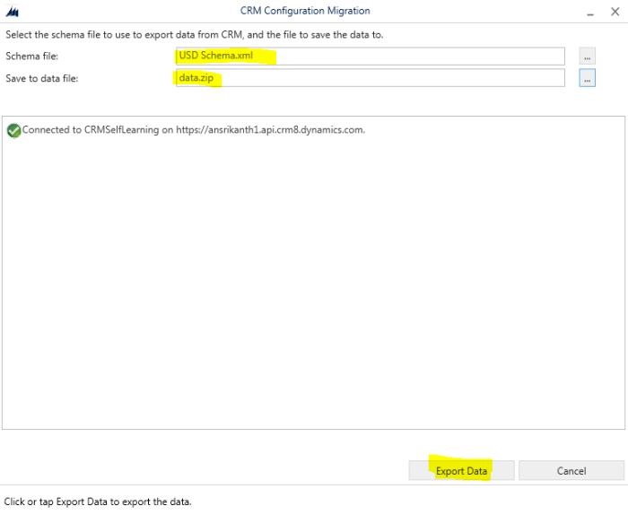 Export data using Configuration Migration tool