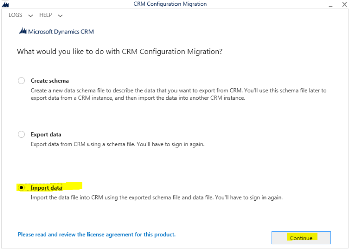 Import data using Configuration Migration tool