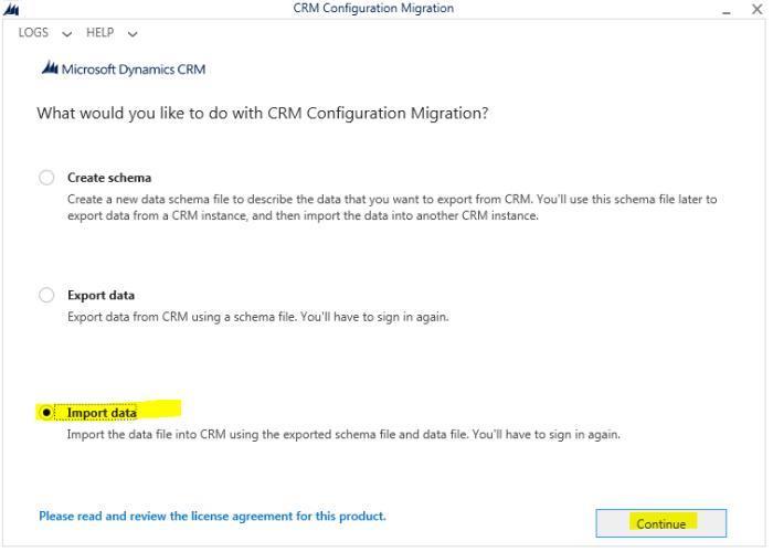 Import data using Configuration Migration tool
