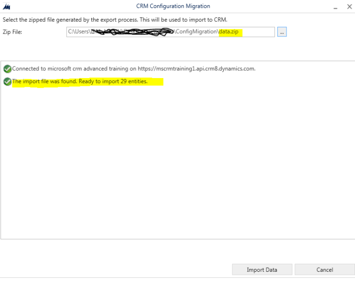 Importing data into CRM using CRM Configuration Migration