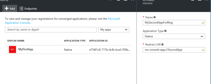 Application registration in Azure AD