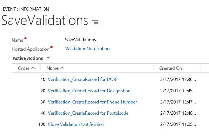 Add action calls to SaveValidation Custom event of USD