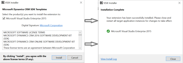 Project Template installation in Visual studio for CRM and usd