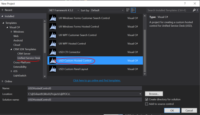 CRM SDK Templates for USD in Visual studio