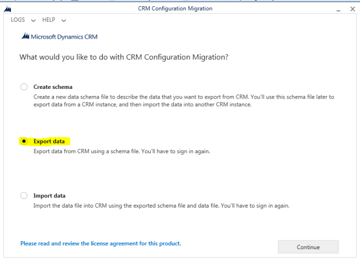 Using CRM Configuration migration tool to export the data