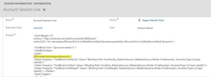XAML Code in Session lines