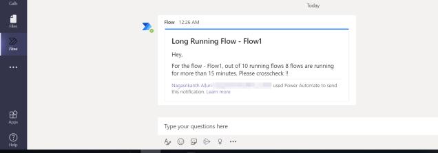 Long-running Flow message in Teams.